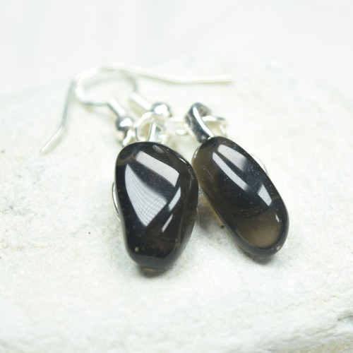 Custom Tumbled Apache Tears Dangling Earrings - 1 Set