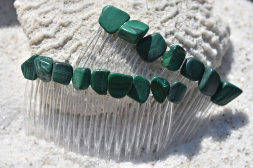 Malachite Stone Hair Combs (Quantity of 2)