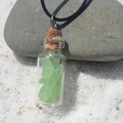 Aqua Sea Glass a Glass Vial Necklace