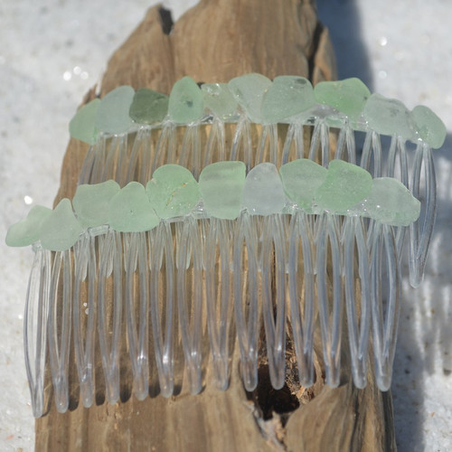 Aqua Sea Glass Hair Combs