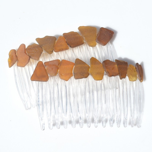 Genuine Surf-Tumbled Shades of Brown Sea Glass Hair Combs (Quantity of 2)