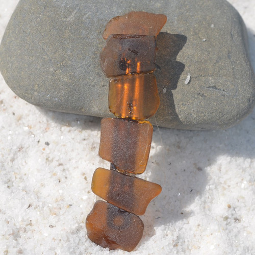 Amber Brown Sea Glass French Barrette