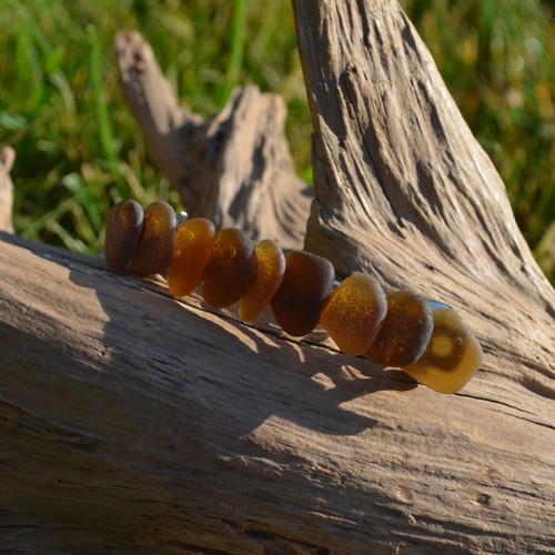 Layered Brown Sea Glass French Barrette