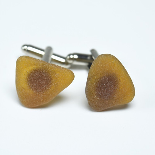 Amber Brown Sea Glass Cufflinks