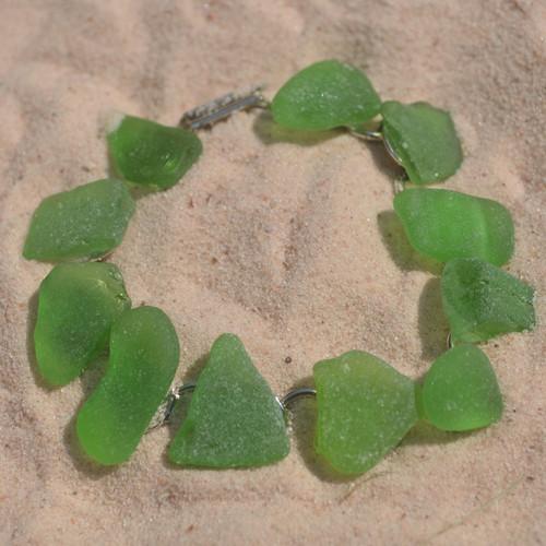Green Sea Glass Bracelet