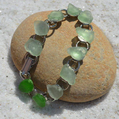 Shades of Ocean Sea Glass Bracelet
