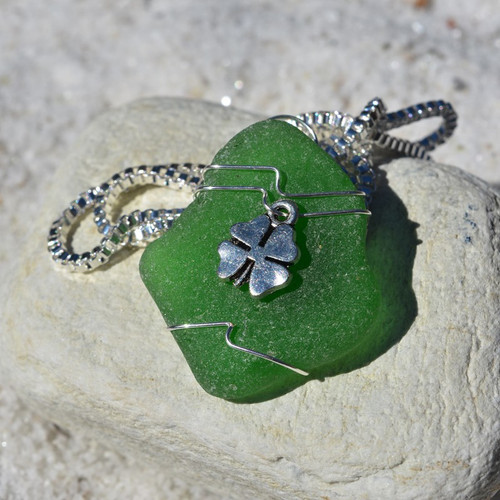 Custom Handmade Genuine Sea Glass Necklace with a Silver Shamrock Charm - Choose the Color - Frosted, Green, Brown, or Aqua-1