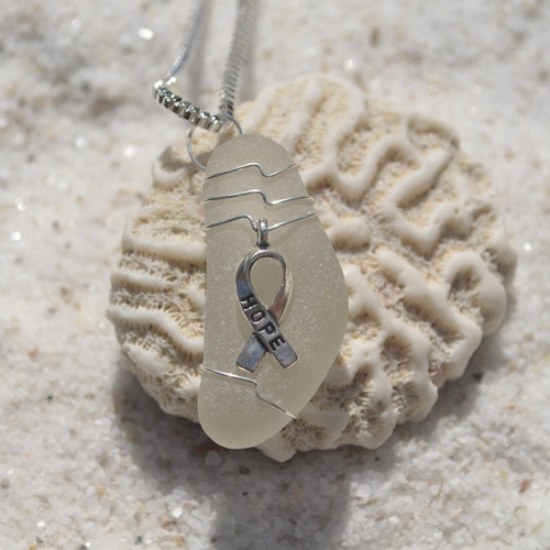 Cancer Hope Ribbon Necklace