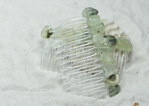 Prehnite with Epidote Stone Hair Combs