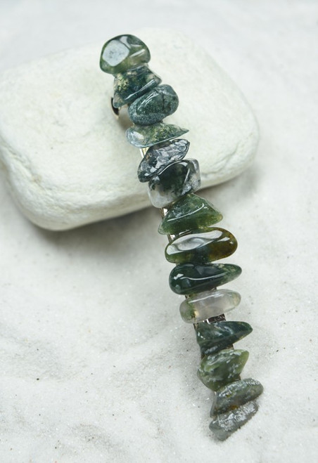 Green Moss Agate Stone French Barrette