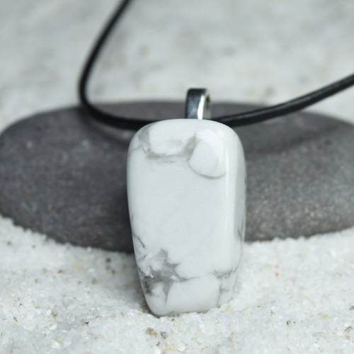 Custom Tumbled XL White Howlite Pendant and Necklace on a Leather Cord - Quantity of 1