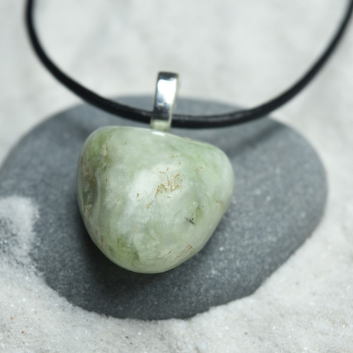 Custom Tumbled Green Jade Stone Pendant and Necklace - Choose Sterling Silver Chain or Leather Cord - Quantity of 1