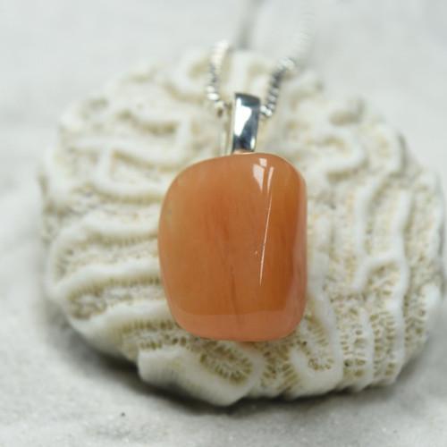 Peach Quartz Pendant and Necklace