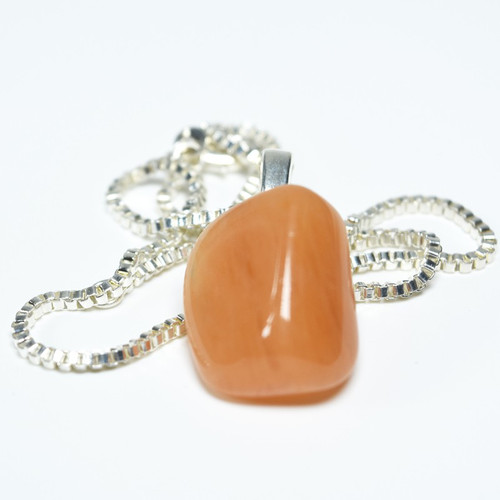Peach Quartz Pendant and Necklace
