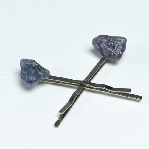 Iolite Stone Hair Pins