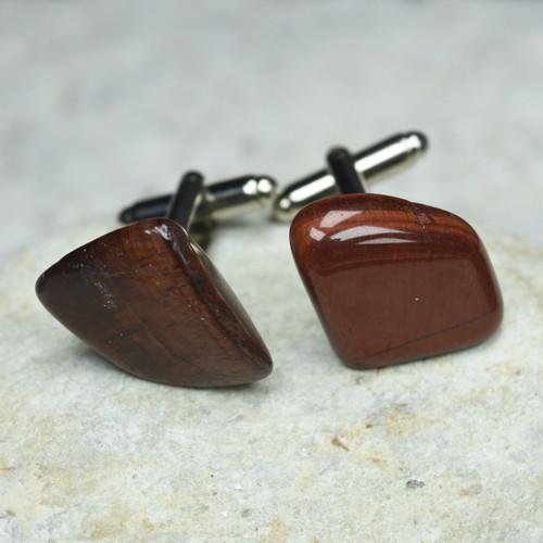 Custom Red Tiger's Eye Stone Cufflinks Handmade - 1 Set