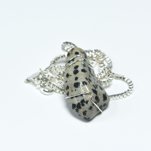 Custom Tumbled Dalmatian Jasper Stone Wire Wrapped Necklace - Choose Sterling Silver Chain or Leather Cord - Quantity of 1