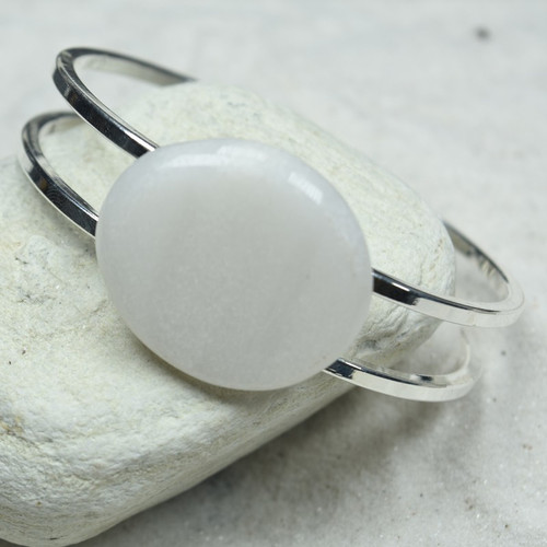 White Jade Palm Stone Silver Bangle Cuff Bracelet