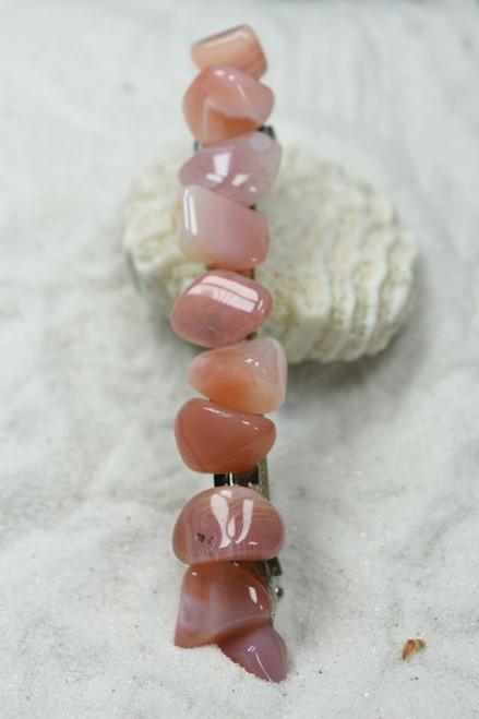 Tumbled Apricot Agate Stone French Barrette