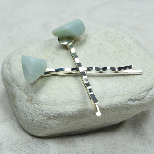 Light Amazonite Stone Hair Pins