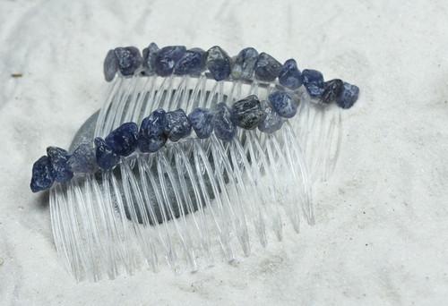 Iolite Stone Hair Combs