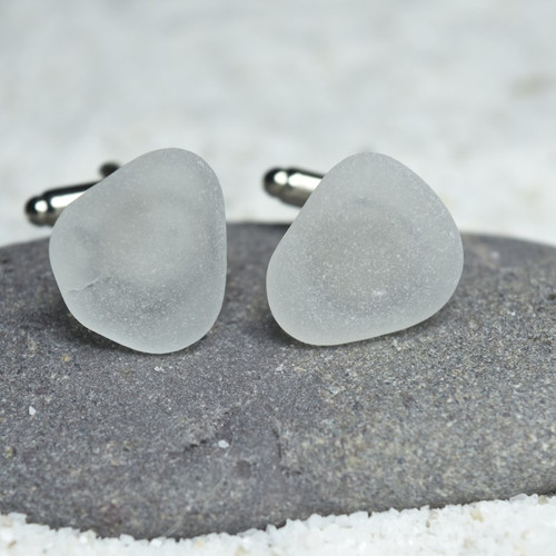 Surf Tumbled Frosted White Sea Glass Cufflinks