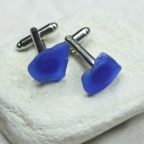 Blue Sea Glass Cufflinks