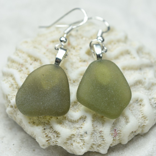 Custom Tumbled Olive Green Sea Glass Dangling Earrings - 1 Set