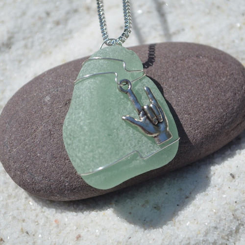 Custom Handmade Genuine Sea Glass Necklace with a Silver ASL I Love You Charm - Choose Color - Frosted, Green, Brown, or Aqua