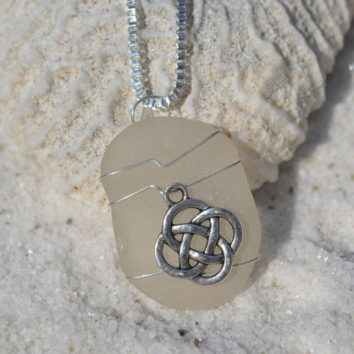 Custom Handmade Genuine Sea Glass Necklace with a Silver Celtic Knot Charm - Choose the Color - Frosted, Green, Brown, or Aqua