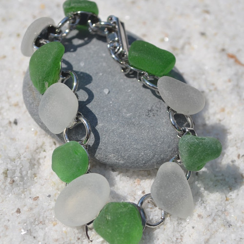 Green and Frosted White Sea Glass Bracelet