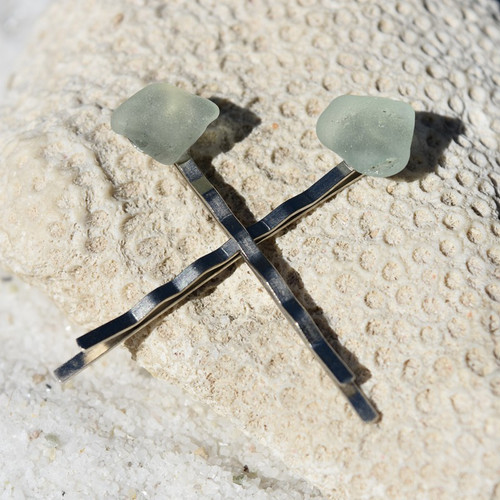 Genuine Surf Tumbled Aqua Sea Glass Hair Pins (Set of 2)