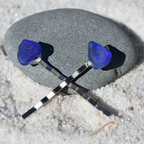 Genuine Surf Tumbled Cobalt Blue Sea Glass Hair Pins (Set of 2)