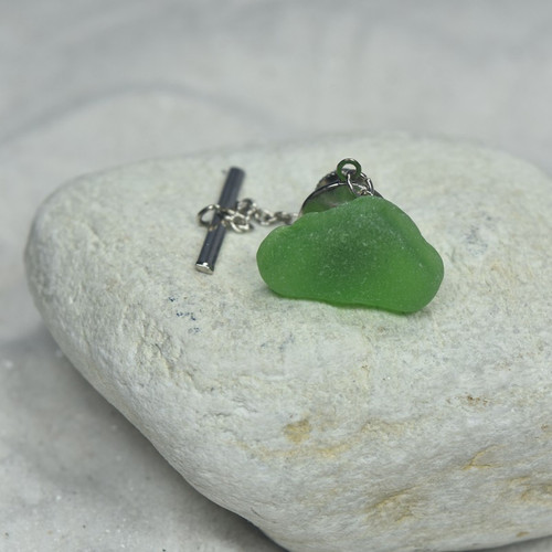 Green Sea Glass Tie Tack
