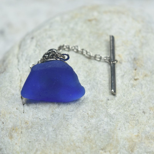 Surf Tumbled Blue Sea Glass Tie Tack