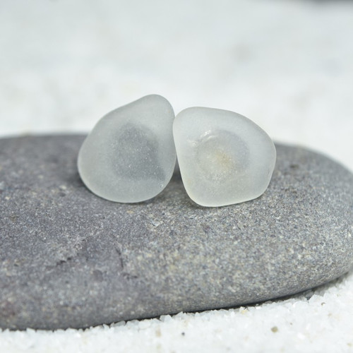 Frosted Sea Glass Stud Earrings