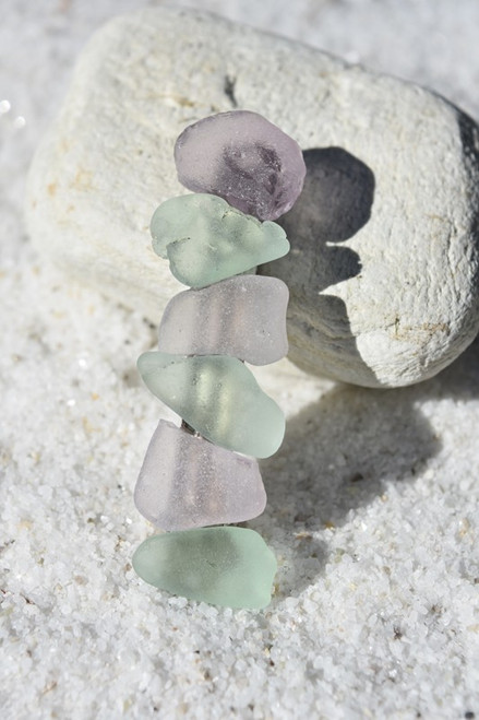 Aqua and Purple Sea Glass French Barrette