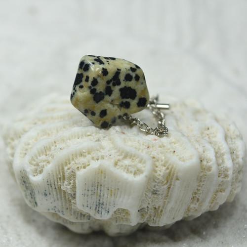 Tumbled Dalmatian Jasper Stone Tie Tack