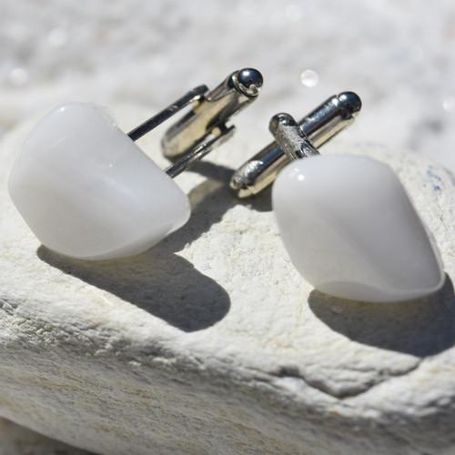 Snow Quartz Stone Cufflinks