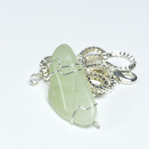 Custom Tumbled Green Jade Pendant and Necklace - Choose Sterling Silver Chain or Leather Cord - Quantity of 1