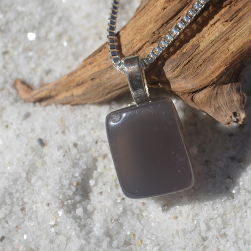Gray Agate Rectangular Stone Necklace