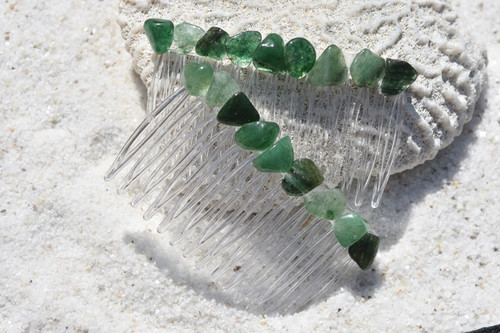 Green Quartz Stone Hair Combs