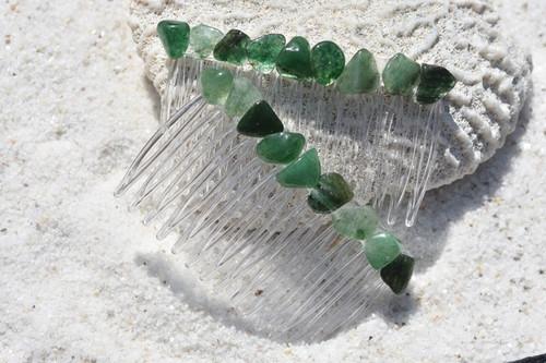 Green Quartz Stone Hair Combs
