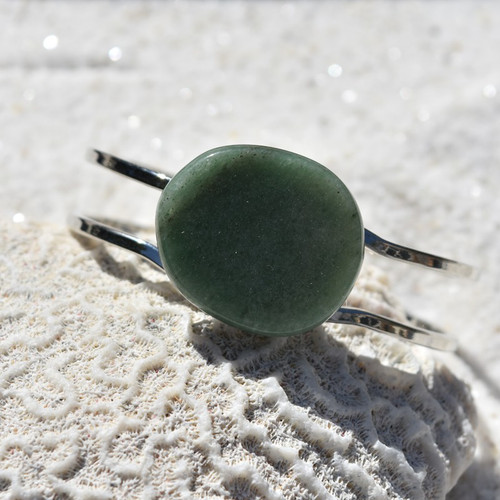 Green Aventurine Palm Stone Silver Bangle Cuff Bracelet