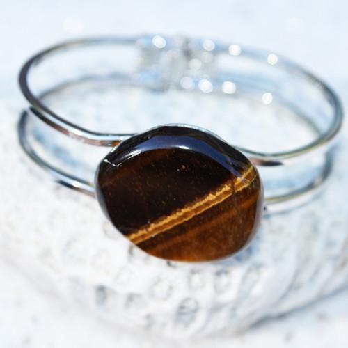 Gold Tiger's Eye Palm Stone Silver Bangle Cuff Bracelet