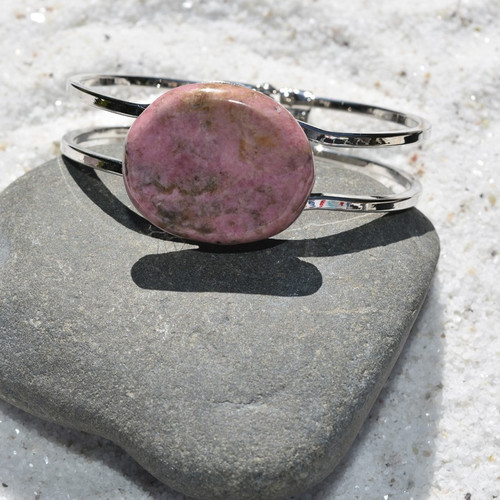 Rhodonite Palm Stone Silver Bangle Cuff Bracelet