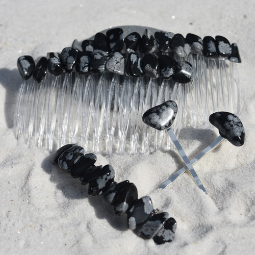Snowflake Obsidian Stone Hair Clip Set - Includes 2 Hair Combs, 1 60 mm French Barrette, 2 Hair Pins