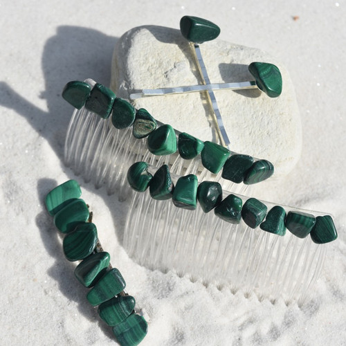 Malachite Stone Hair Clip Set - Includes 2 Hair Combs, 1 60 mm French Barrette, 2 Hair Pins