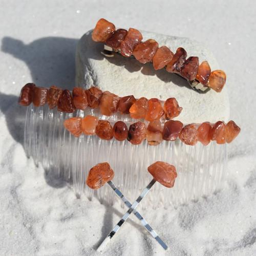 Carnelian Stone Hair Clip Set