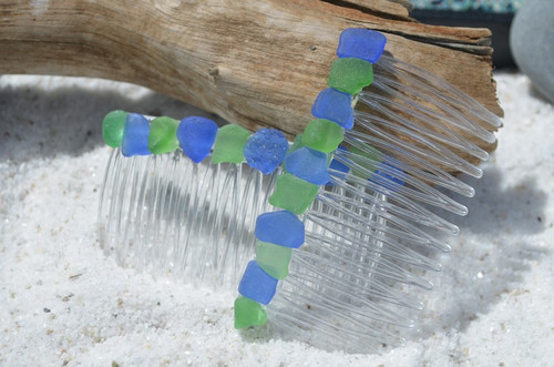 Genuine Surf-Tumbled Cobalt Blue and Kelly Green Sea Glass Hair Combs (Quantity of 2)